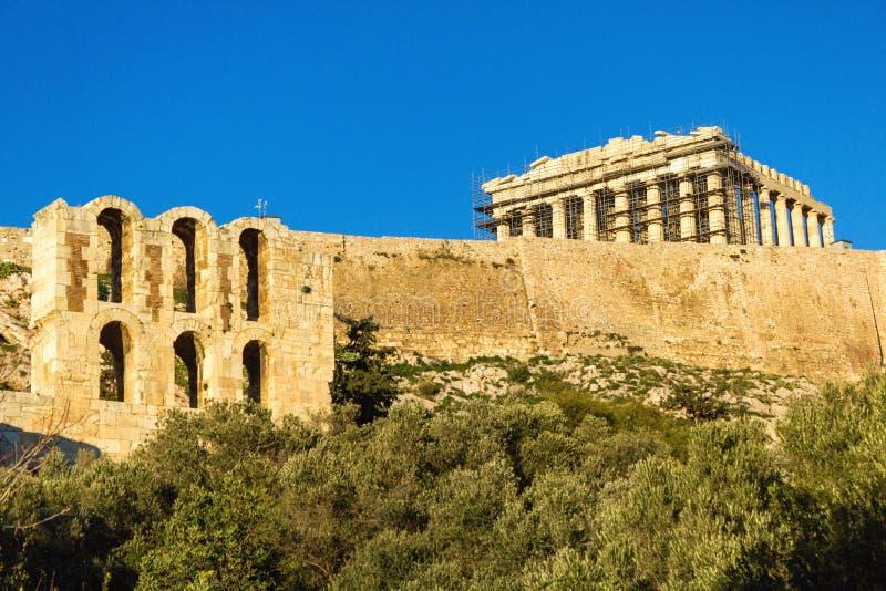 Widok Parthenon świątynia na Ateńskim akropolu, Grecja zdjęcia stock