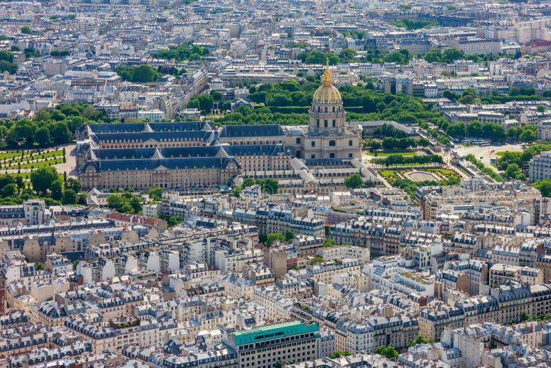 Widok Paryż Invalides od wieży eifla i Les obraz royalty free