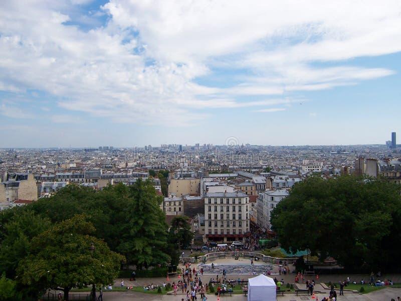 Widok Paryż od gór Sacre Coeur bazylika w letnim dniu zdjęcia stock