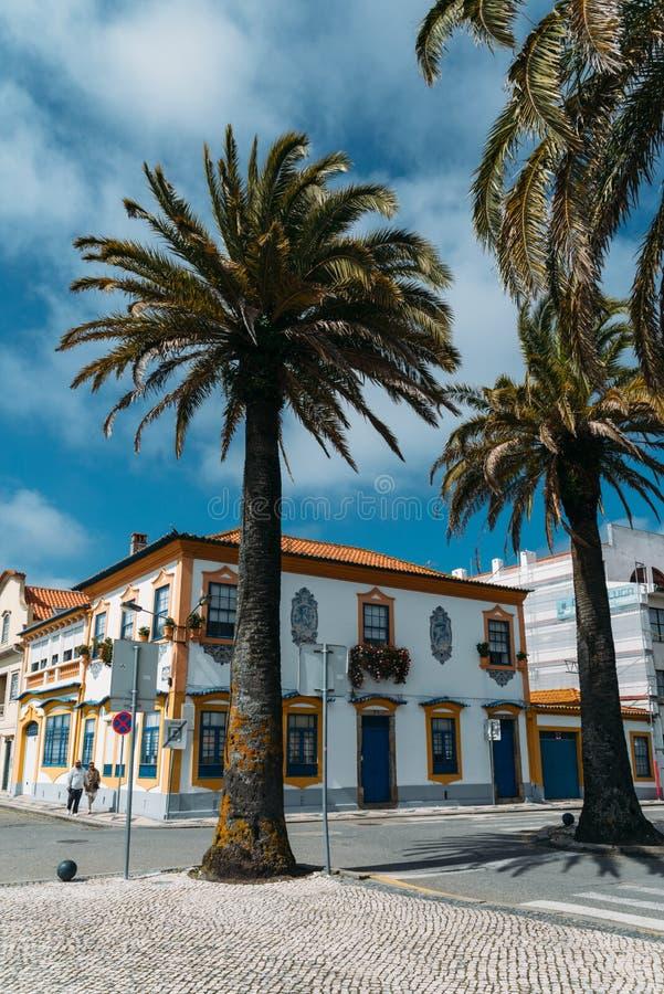 Widok piękni starzy fasada budynki w sztuki Nouveau architektonicznym stylu w Aveiro mieście, Portugalia obrazy stock