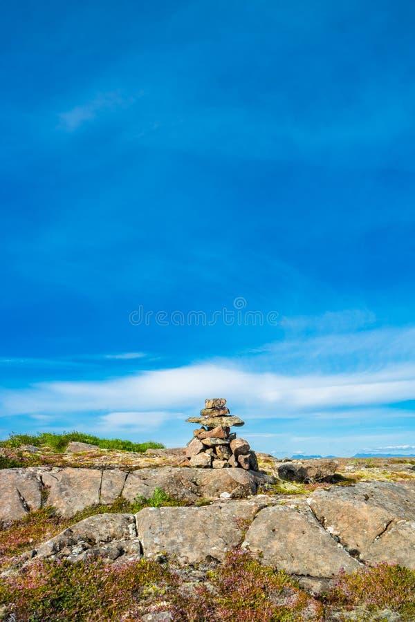 Widok piękny Islandzki krajobraz i ostrosłup od kamieni, I zdjęcie royalty free