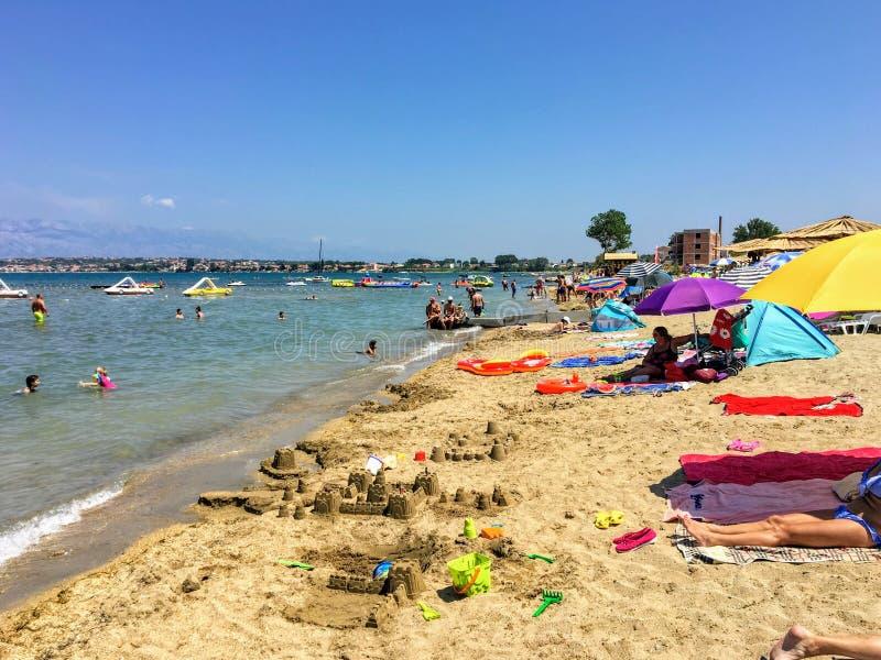 Widok piękny szeroki piaskowaty Ninska laguna beach w Nin, Chorwacja zdjęcie royalty free