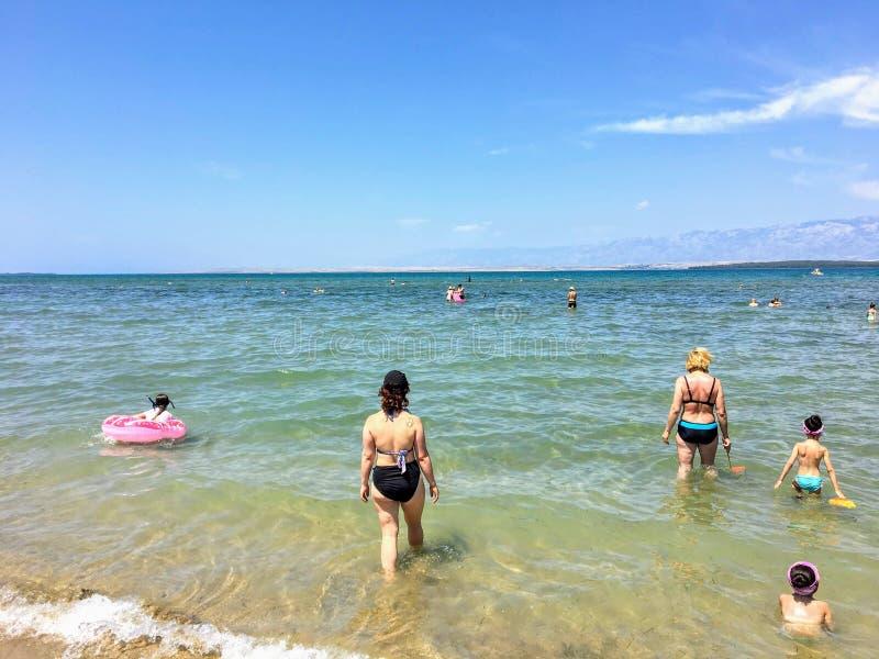 Widok piękny szeroki piaskowaty Ninska laguna beach w Nin, Chorwacja fotografia royalty free