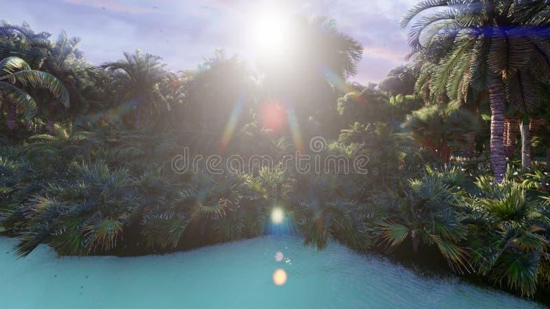 Widok pi?kny jezioro z pi?knymi rybami na tropikalnej przegranej wyspie Pi?kna natura, drzewka palmowe, insekty obraz royalty free