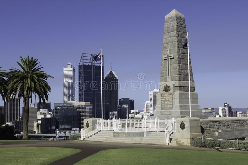 Widok pieniężny teren, biura, handlowi budynki i drapacze chmur miasto Perth, zdjęcie royalty free
