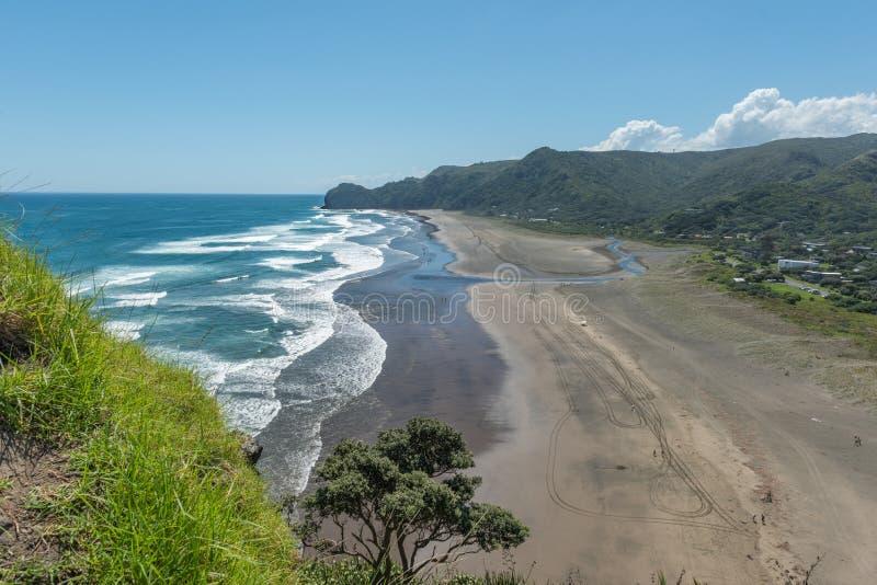 Widok Piha plaża od skłonów lew skała Nowa Zelandia obraz stock