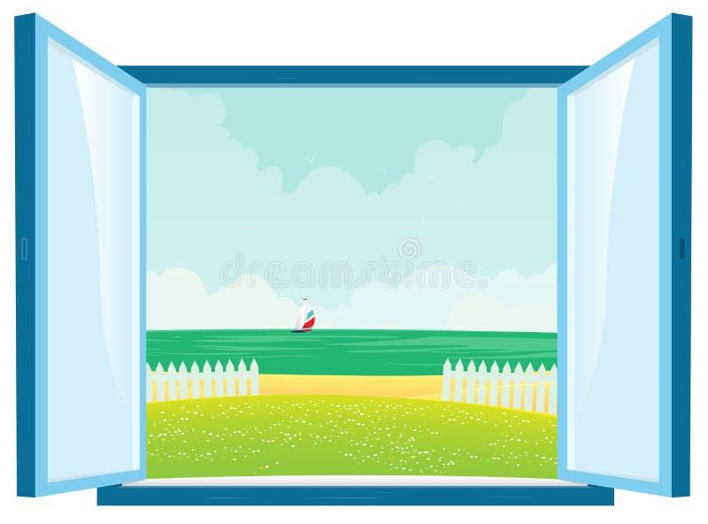 widok plażowy okno ilustracji