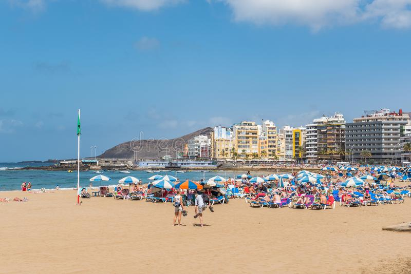 Widok plażowy Playa Las Canteras, Las Palmas De Gran Canaria, Hiszpania obraz stock