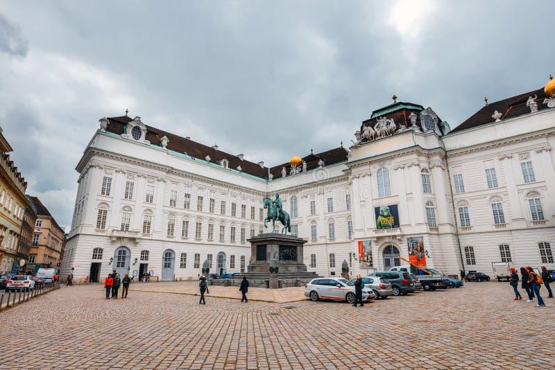 Widok podwórze Hofburg pałac w Wiedeń, Austria obraz stock