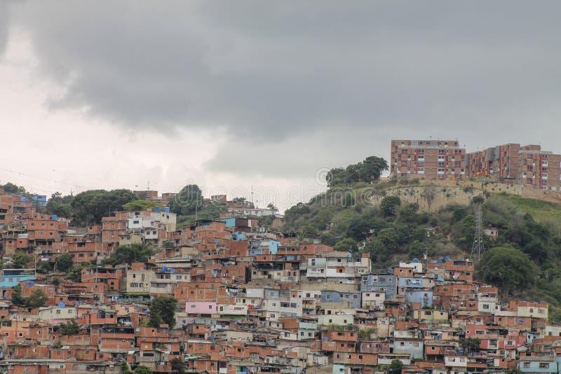 Widok pokazuje slamsy El Valle, Wenezuela zdjęcie royalty free