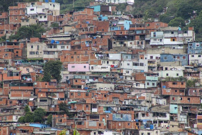 Widok pokazuje slamsy El Valle, Wenezuela zdjęcie stock