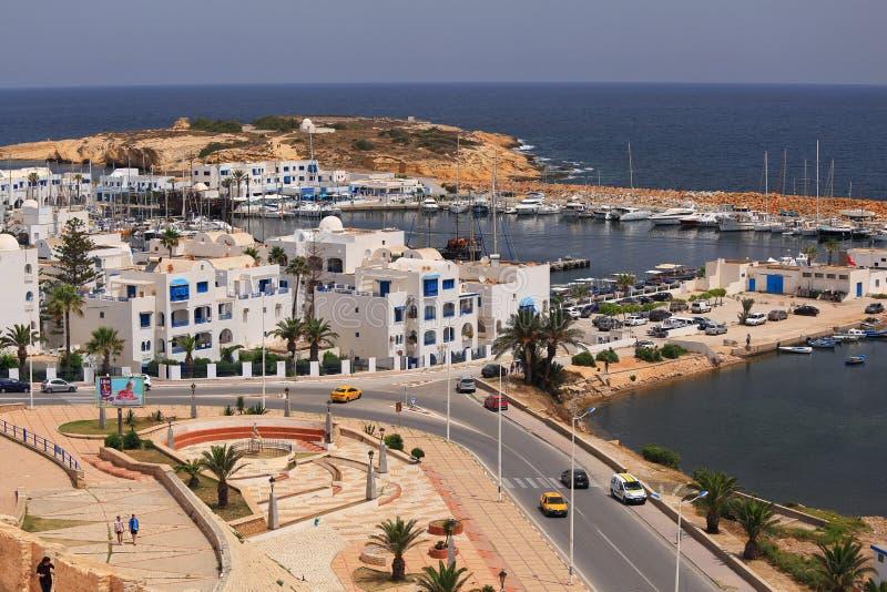 Widok port Monastir i morze śródziemnomorskie fotografia stock