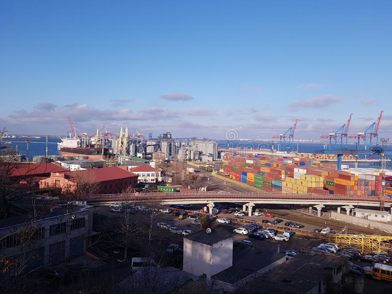 Widok port Odessa, Ukraina fotografia stock