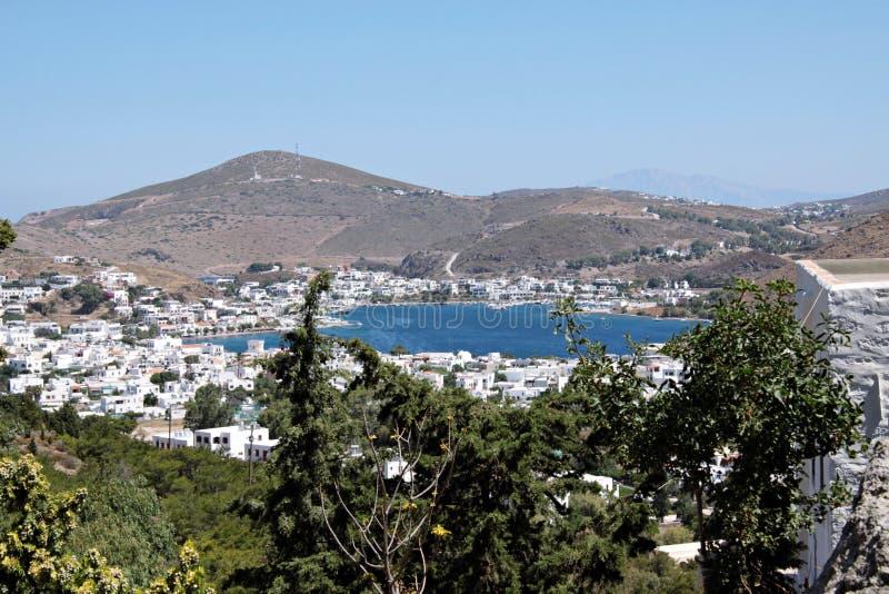 Widok port Patmos wyspa obraz royalty free