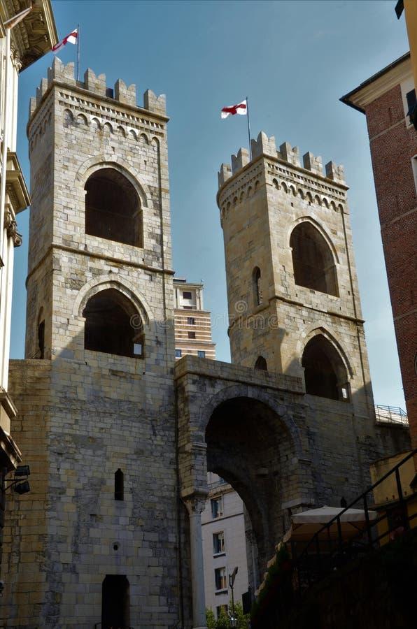 Widok Porta Soprana Góruje genua punkty zwrotnych obraz stock