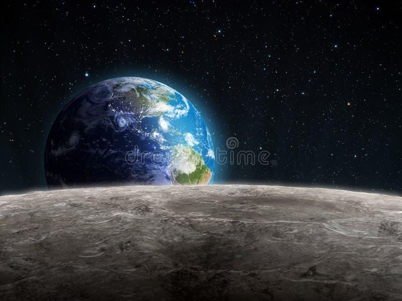 Widok powstająca Ziemia widzieć od Księżyc ilustracja wektor