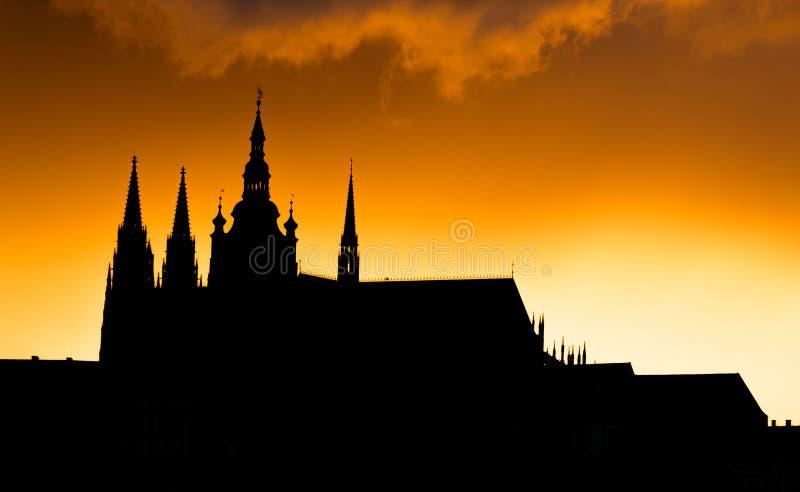 Widok Praga kasztel w wieczór, republika czech obraz royalty free