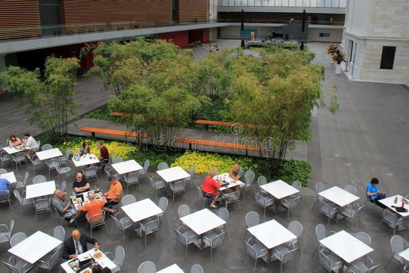 Widok przegapia stoły ustawia dla lunchu, Cleveland muzeum sztuki, Ohio, 2016 obrazy royalty free