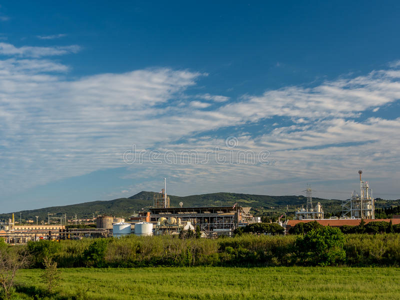 Widok przemysłowy chemiczny kompleks obrazy royalty free