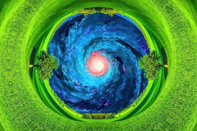 Widok Przez Wiercenie Ziemi Na Drodze Mlecznej Galaktyki zdjęcia royalty free