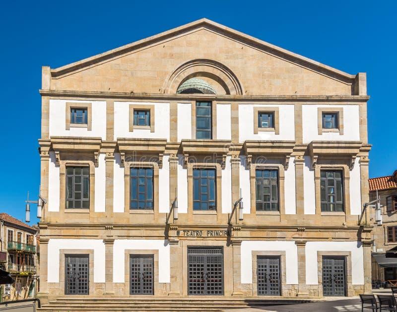 Widok przy buiding Główny teatr w Pontevedra, Hiszpania - zdjęcie stock