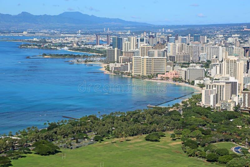 Widok przy Honolulu i Kapiolani parkiem obrazy royalty free