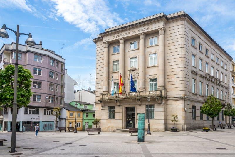 Widok przy rzędu lokalnego budynkiem Lugo w Hiszpania zdjęcie royalty free