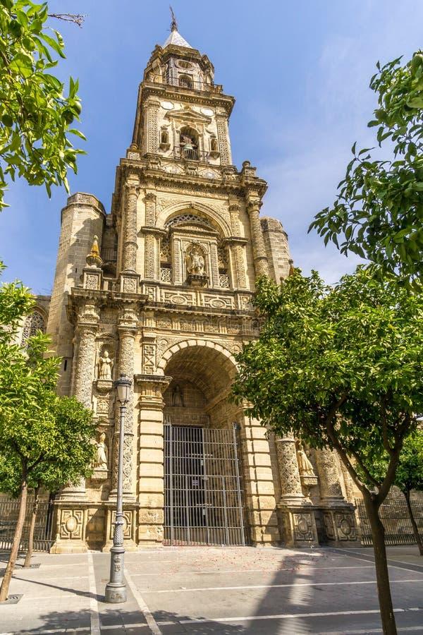 Widok przy San Miguel kościół w Jerez De La Frontera, Hiszpania - zdjęcia stock