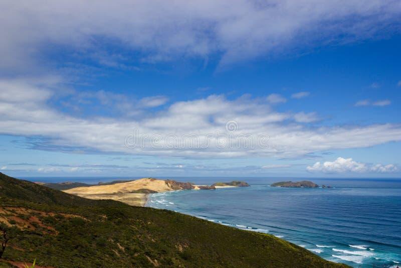 Widok Przylądek Maria Samochód dostawczy Diamen i Te Werahi Wyrzucać na brzeg przylądkiem Reinga, Północna wyspa Nowa Zelandia zdjęcia stock