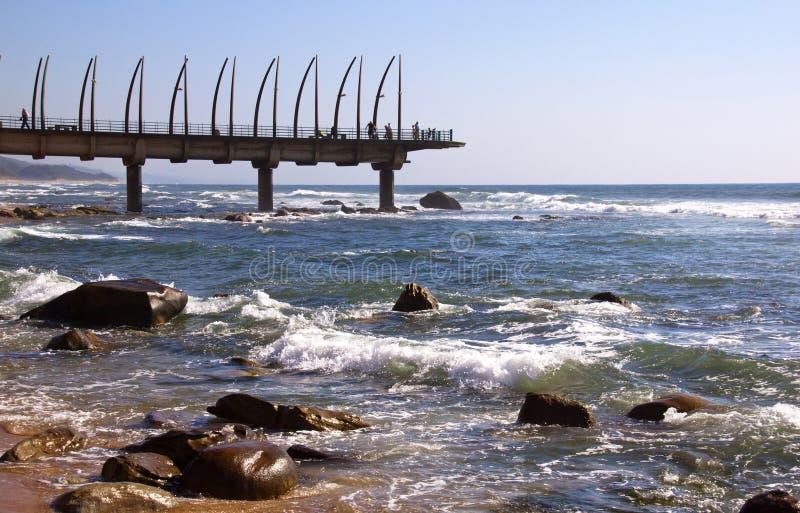 Widok punktu zwrotnego molo Przy Umhlanga skałami, Durban, Południowa Afryka obraz royalty free