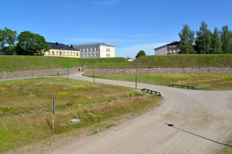 Widok ramparts w letnim dniu 19 dzwonnic c kościelny Finland hamina Paul Peter st obrazy royalty free