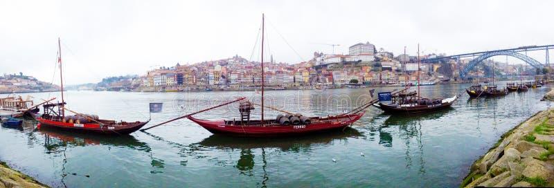 Widok Ribeira okręg nad Douro rzeką Portugal porto obrazy royalty free