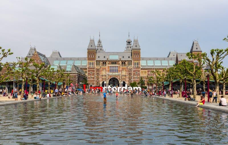 Widok Rijksmuseum w Amsterdam fotografia stock