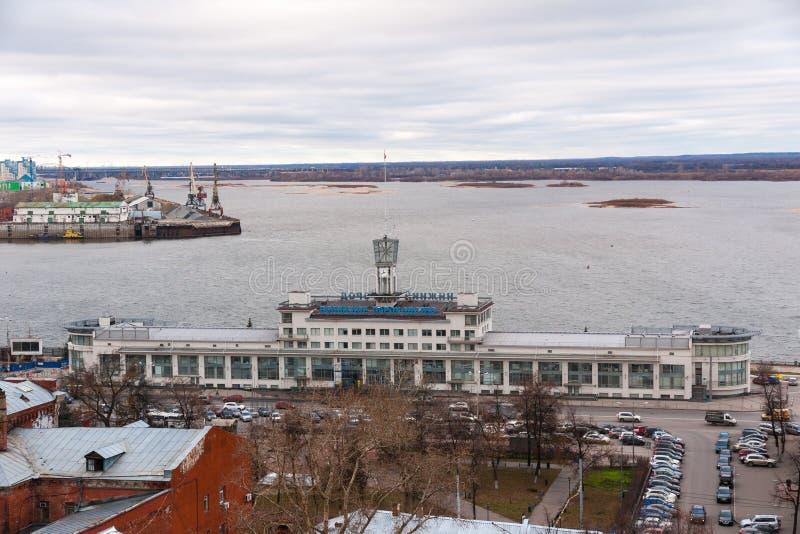 Widok Rzeczny śmiertelnie andSpit, rzeki Volga i Oko, Nizhny Novgorod, Rosja obraz royalty free
