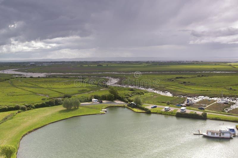 Widok rzeka i Somerset poziomy blisko Weston Super klacza zdjęcie stock