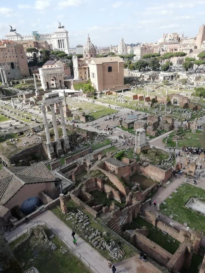 Widok rzymski forum od palatynu wzgórza, Rzym, Włochy zdjęcie royalty free