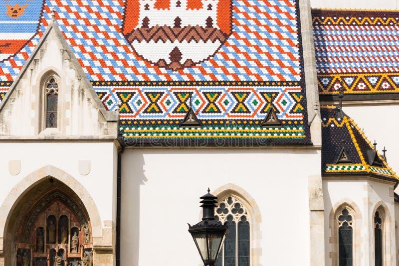 Widok sławny St Mark kościół w górnym grodzkim Zagreb, Chorwacja obrazy stock