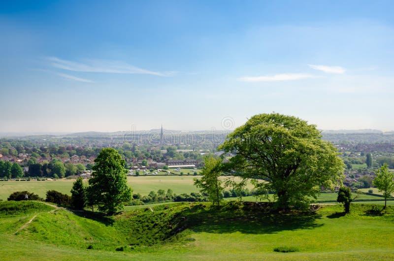 Widok Salisbury od Starego Sarum obraz stock