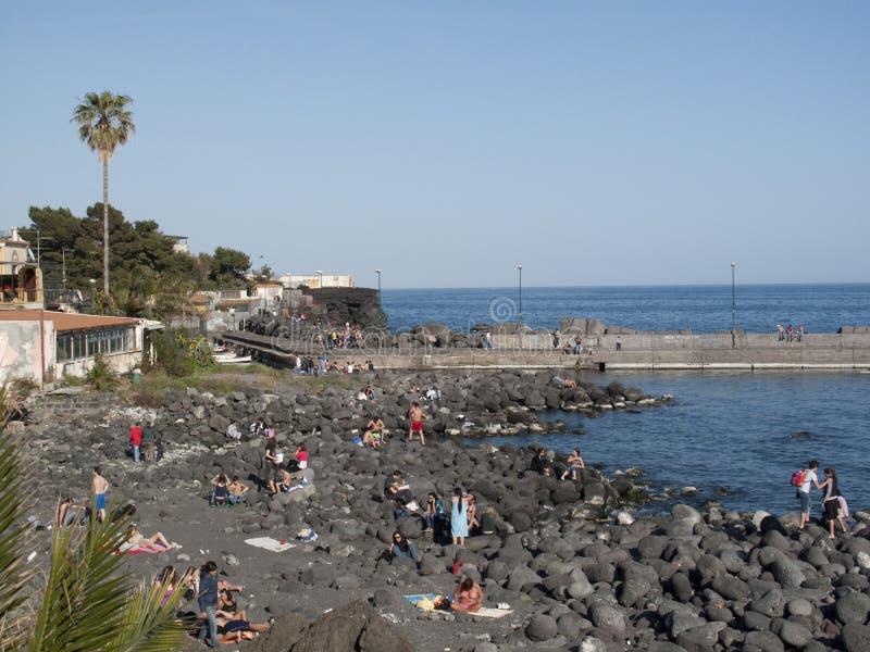 Widok San Giovanni Li Cuti plaża zdjęcie royalty free