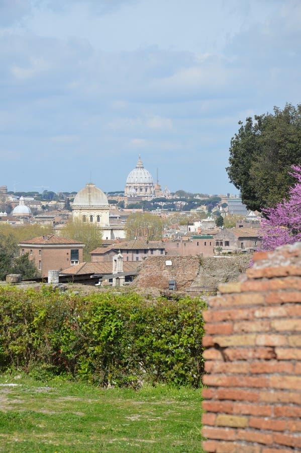 Widok San Pietro bazylika od palatynu wzgórza, Rzym zdjęcie stock