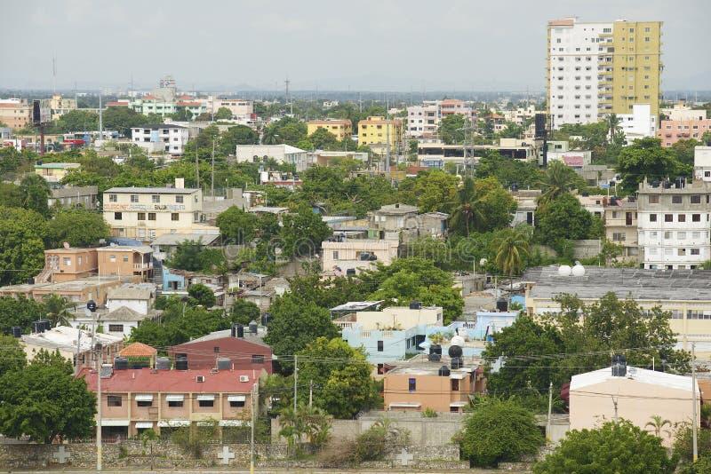Widok Santo Domingo miasto od dachowego wierzchołka latarnia morska Christopher Kolumb w Santo Domingo, republika dominikańska zdjęcia royalty free