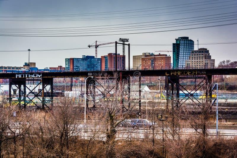 Widok Schuylkill autostrada Zachodni Filadelfia i, Pennsyl zdjęcia royalty free