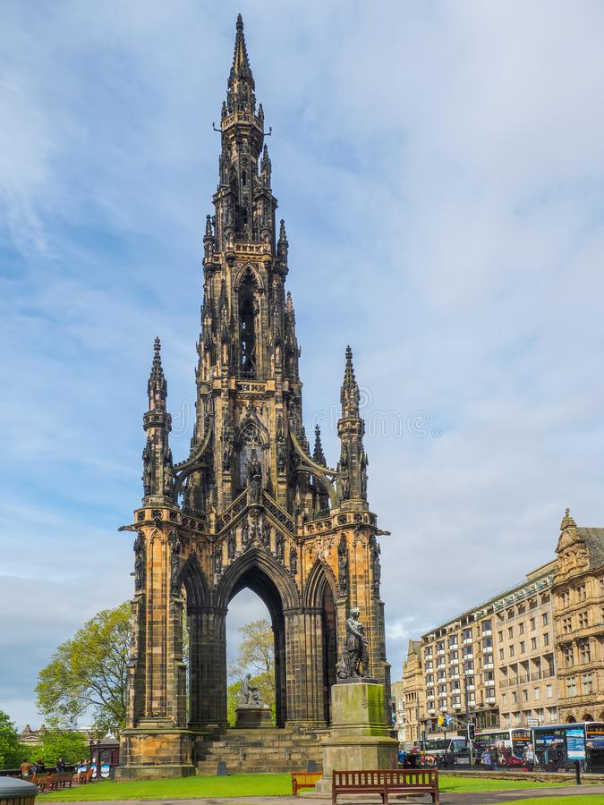 Widok Scott zabytek - Wiktoriański Gocki zabytek Szkocki autora Sir Walter Scott w Edynburg, Szkocja, UK zdjęcie stock
