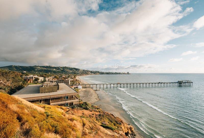 Widok Scripps molo w losu angeles Jolla brzeg, San Diego, Kalifornia zdjęcia stock