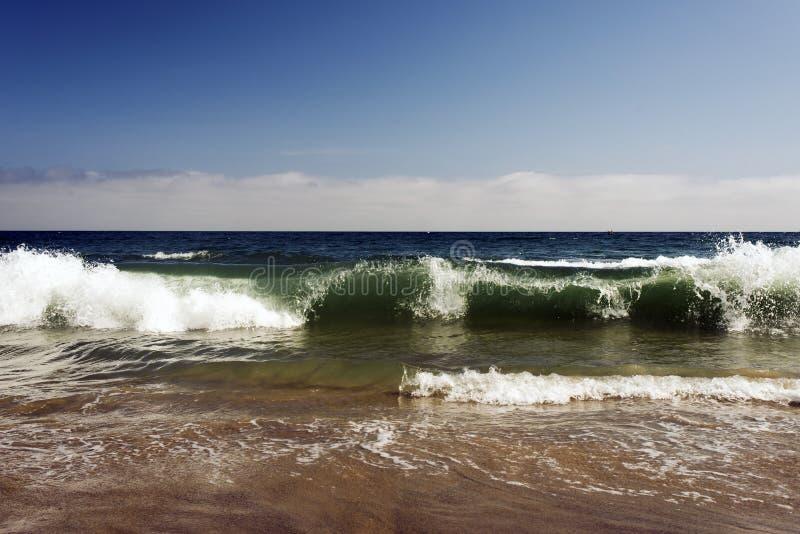 Widok seascape, Pacyficzny ocean, macha i piany i pluśnięcie w Malibu, Kalifornia zdjęcie royalty free