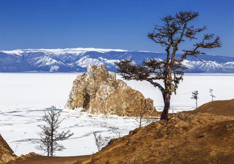 Widok Shamanka ska?a i ?yczy drzewo na przyl?dku Burhan Olkhon wyspa na jeziornym Baikal Irkutsk region obrazy royalty free