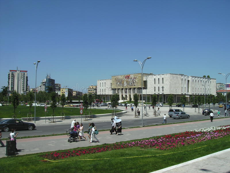Widok Skanderberg kwadrat, Tirana, Albania obrazy stock