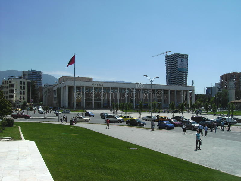 Widok Skanderberg kwadrat w Tirana, Albania obraz royalty free