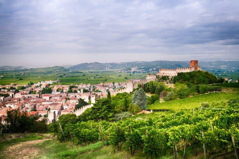 Widok Soave i swój sławny średniowieczny kasztel (Włochy) obraz stock