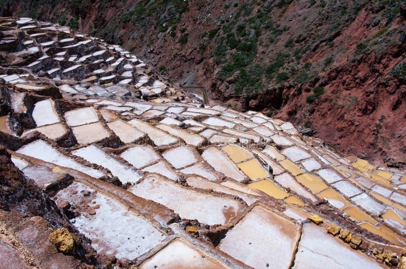 Widok Solankowi stawy, Maras, Cuzco, Peru obraz stock